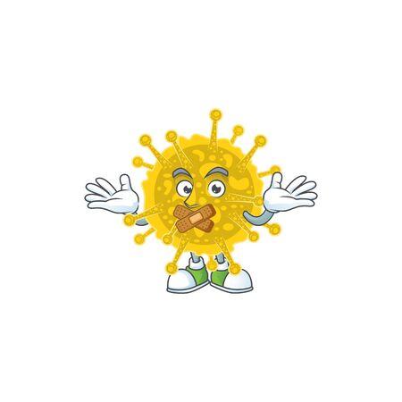 Coronavirus pandemic cartoon character design concept showing silent gesture. Vector illustration