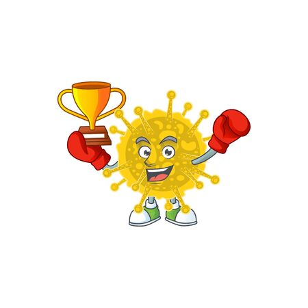 Happy face of boxing winner coronavirus pandemic in mascot design style