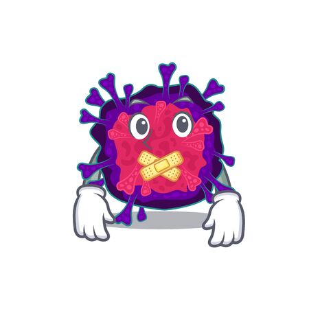Nyctacovirus mascot cartoon character design with silent gesture