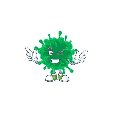 Funny coronavirus pneumonia cartoon design style with wink eye face. Vector illustration