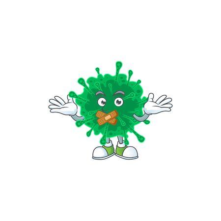 Coronavirus pneumonia cartoon character design concept showing silent gesture. Vector illustration