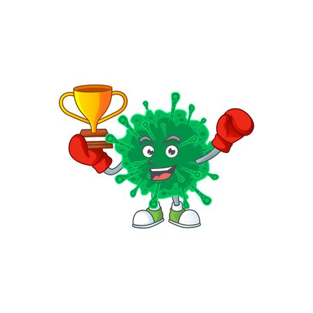Happy face of boxing winner coronavirus pneumonia in mascot design style. Vector illustration 向量圖像