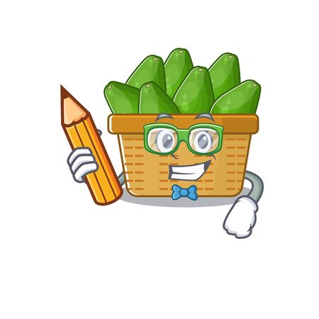 A smart student avocado fruit basket character with a pencil and glasses