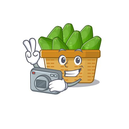 Avocado fruit basket mascot design as a professional photographer with a camera