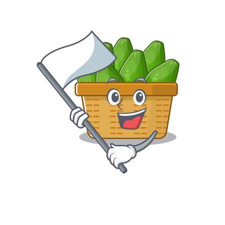 Avocado fruit basket cartoon character design holding standing flag