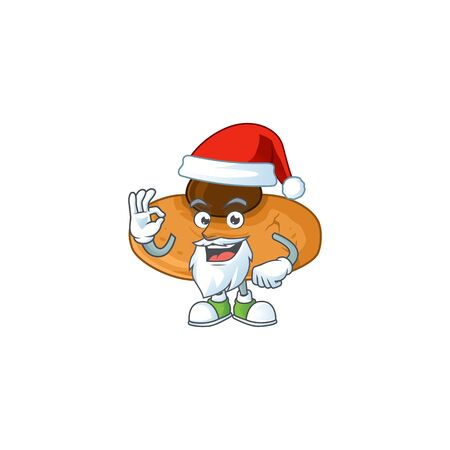 Kiss cookies cartoon character of Santa showing ok finger. Vector illustration Illusztráció