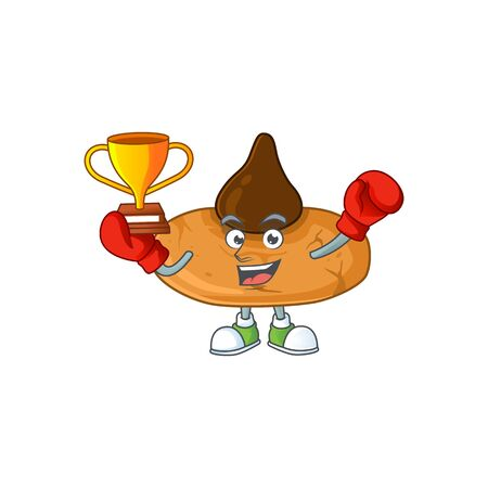 Happy face of boxing winner kiss cookies in mascot design style. Vector illustration 向量圖像