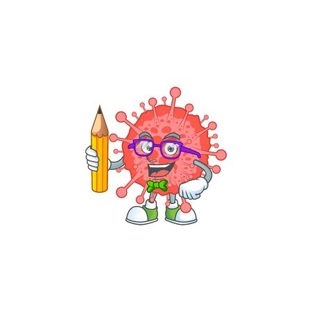Coronavirus disaster clever student character using a pencil. Vector illustration 向量圖像