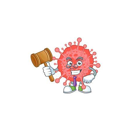 Coronavirus disaster wise judge cartoon character design with cute glasses. Vector illustration