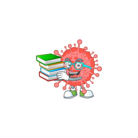A hard-working student in coronavirus disaster cartoon design with book. Vector illustration
