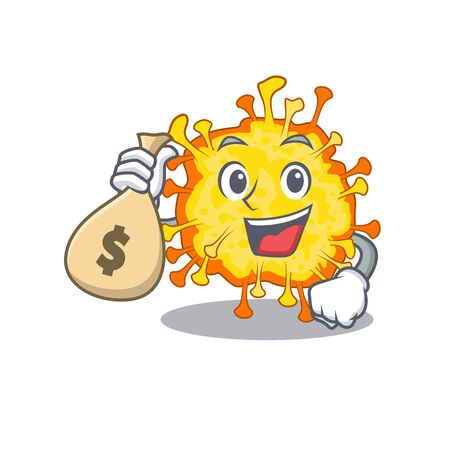 Smiley rich minacovirus cartoon character bring money bags. Vector illustration