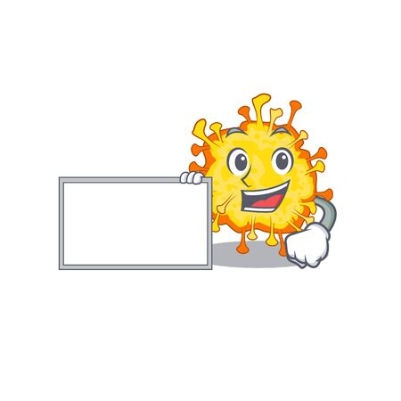 Minacovirus with board cartoon mascot design style. Vector illustration 向量圖像