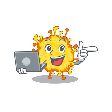 An icon of smart minacovirus working with laptop. Vector illustration