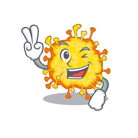 Cheerful minacovirusmascot design in with two fingers. Vector illustration
