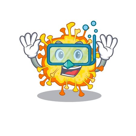 A cartoon picture featuring minacovirus wearing Diving glasses. Vector illustration
