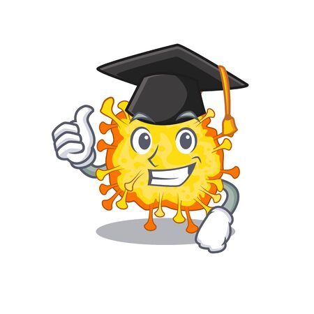 A picture of minacovirus with black hat for graduation ceremony. Vector illustration