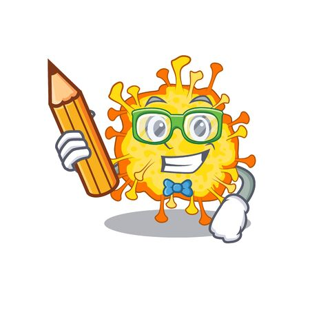 A smart student minacovirus character with a pencil and glasses. Vector illustration