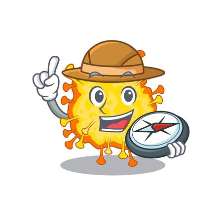 Minacovirus an experienced explorer with a compass. Vector illustration