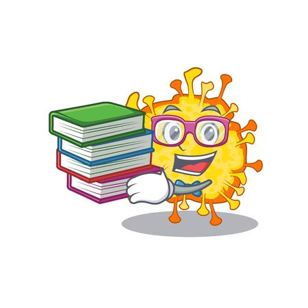 A diligent student in minacovirus mascot design with book. Vector illustration