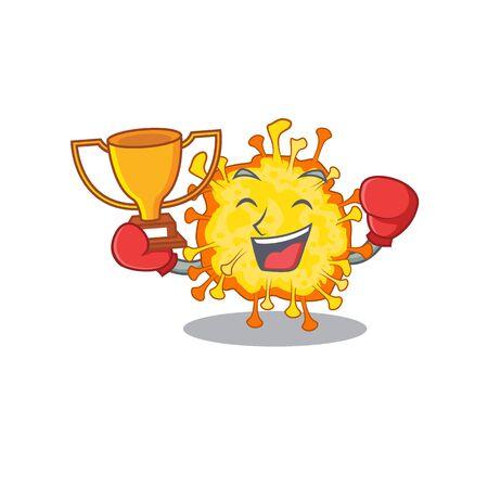 Happy face of boxing winner minacovirus in mascot design style. Vector illustration Ilustração