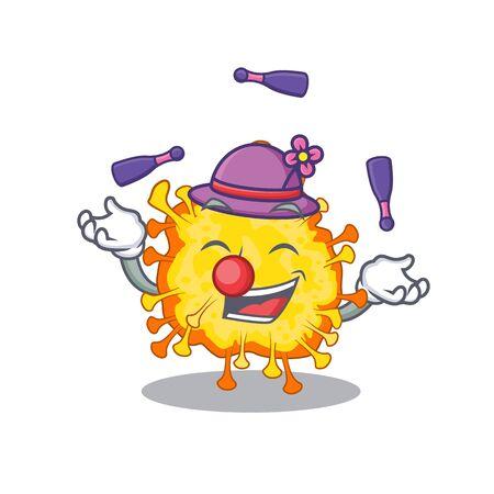 A sweet minacovirus mascot cartoon style playing Juggling. Vector illustration