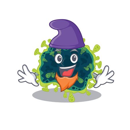 Cute and funny beta coronavirus cartoon character dressed as an Elf. Vector illustration