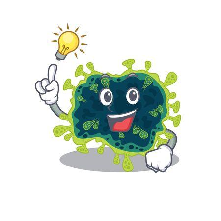 Have an idea gesture of beta coronavirus mascot character design. Vector illustration