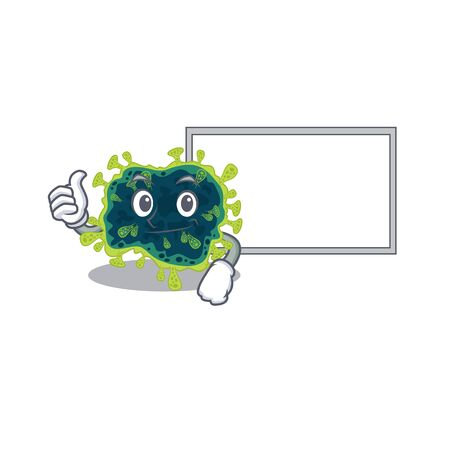 cute beta coronavirus cartoon character Thumbs up bring a white board. Vector illustration