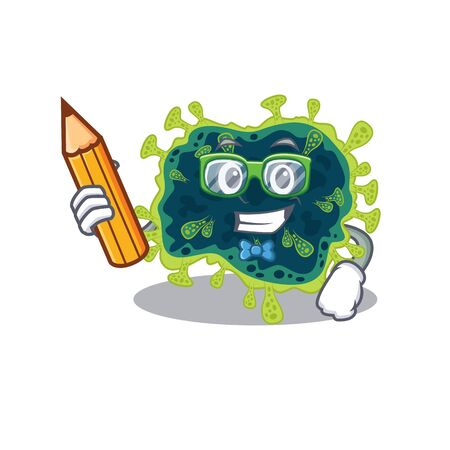 A smart student beta coronavirus character with a pencil and glasses. Vector illustration