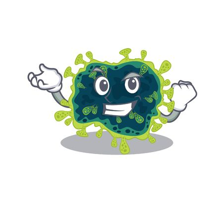 beta coronavirus cartoon character style with happy face. Vector illustration