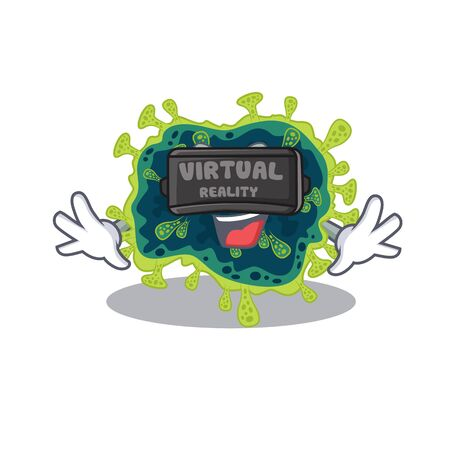 A picture of beta coronavirus character with Virtual reality headset. Vector illustration