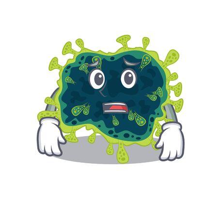 Cartoon picture of beta coronavirus showing anxious face. Vector illustration