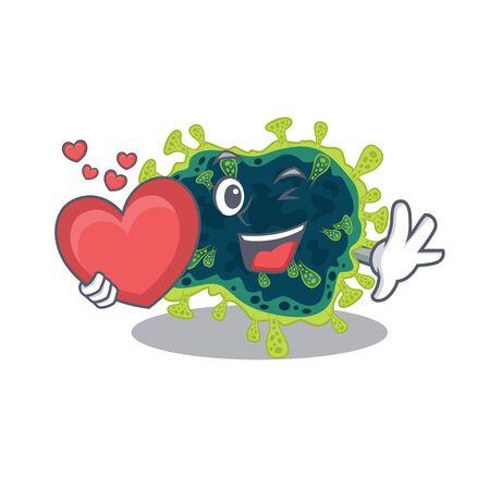 A romantic cartoon design of beta coronavirus holding heart. Vector illustration Vektorové ilustrace