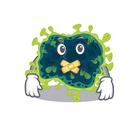 beta coronavirus mascot cartoon character design with silent gesture