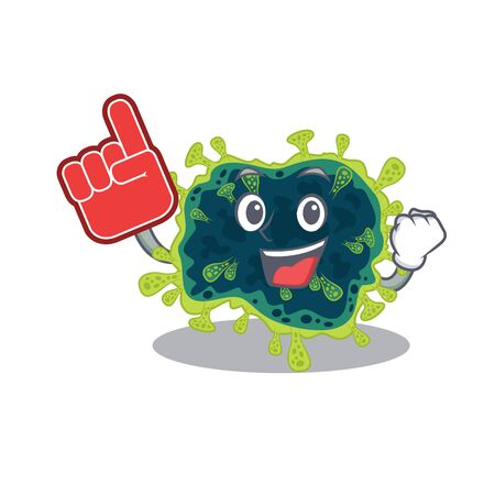 beta coronavirus mascot cartoon style with Foam finger