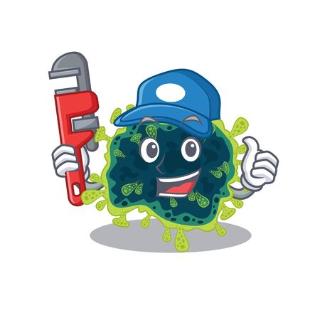 Smart Plumber beta coronavirus on cartoon character design