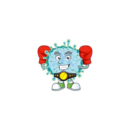 A sporty boxing of coronavirus illness mascot design style. Vector illustration 向量圖像