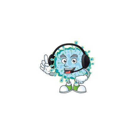 An attractive coronavirus illness mascot character concept wearing headphone. Vector illustration