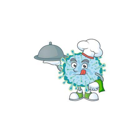 chef cartoon character of coronavirus illness with food on tray. Vector illustration