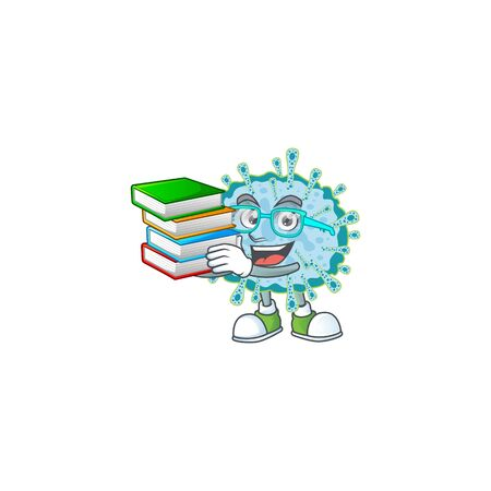A hard-working student in coronavirus illness cartoon design with book. Vector illustration