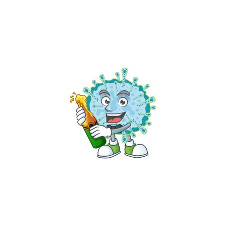 mascot cartoon design of coronavirus illness with bottle of beer. Vector illustration