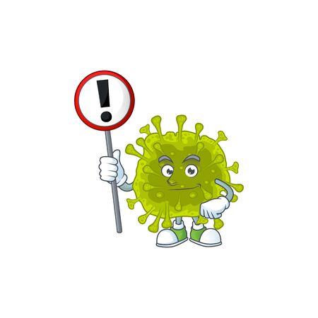 Smiling cartoon design of coronavirus spread with a sign. Vector illustration