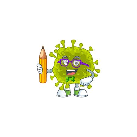 Coronavirus spread clever student character using a pencil. Vector illustration