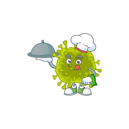 chef cartoon character of coronavirus spread with food on tray. Vector illustration
