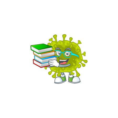 A hard-working student in coronavirus spread cartoon design with book. Vector illustration