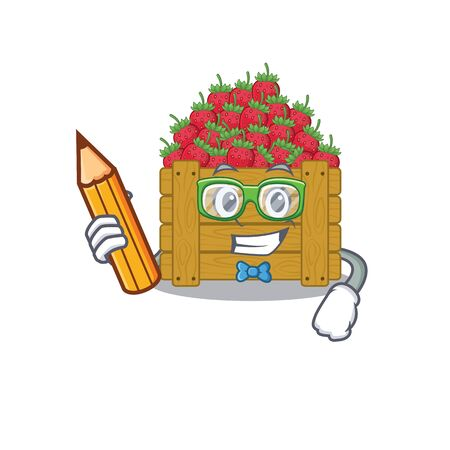 A smart student strawberry fruit box character with a pencil and glasses