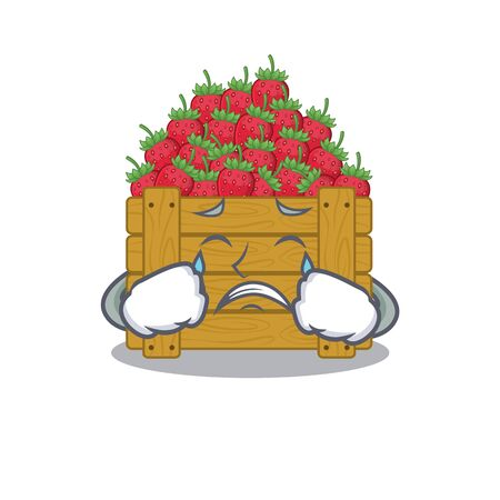 A Crying strawberry fruit box cartoon mascot design style