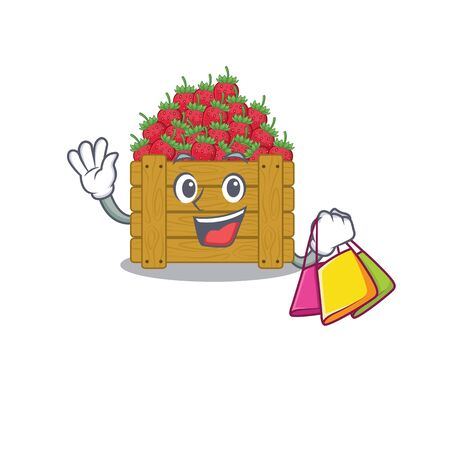 Happy rich strawberry fruit box mascot design waving and holding Shopping bag