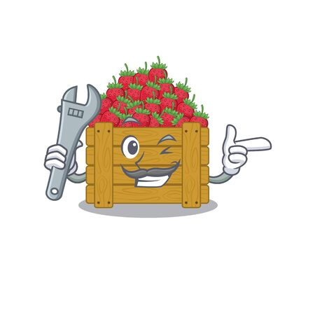 A picture of cool mechanic strawberry fruit box cartoon character design