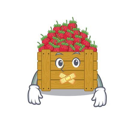strawberry fruit box mascot cartoon character design with silent gesture 일러스트